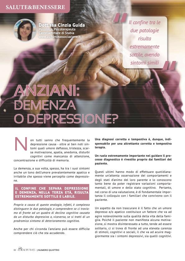 ANZIANI: DEMENZA O DEPRESSIONE? - dr.ssa CINZIA GUIDA