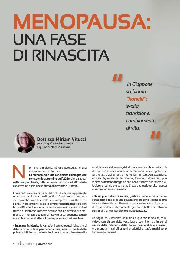 MENOPAUSA: UNA FASE DI RINASCITA - dr.ssa MIRIAM VITUCCI