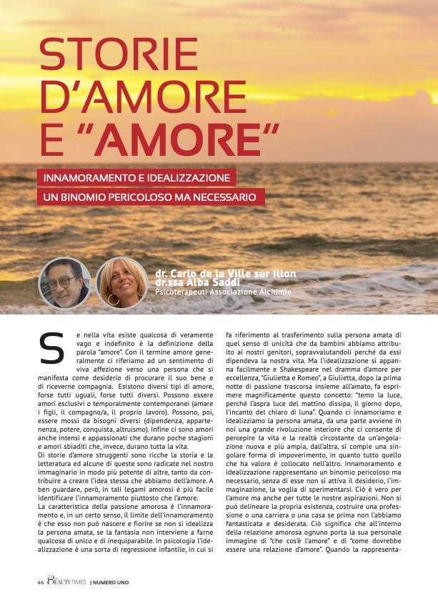 """STORIE D'AMORE E """"AMORE"""" - dr. CARLO DE LA VILLE SUR ILLON, dr.ssa ALBA SADDI"""
