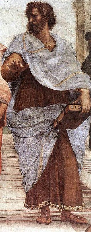 """Aristotele, Dettaglio dalla """"Scuola di Atene"""" (1509) di Raffaello Sanzio"""