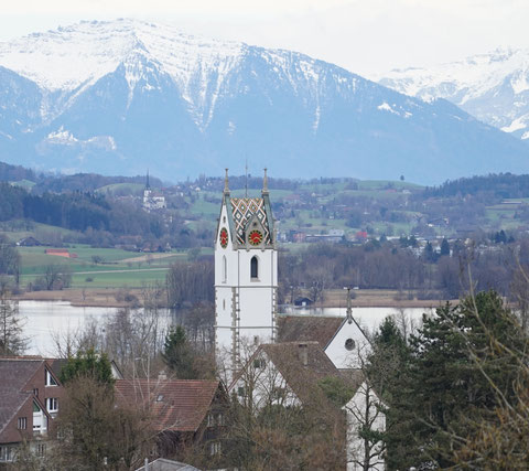 Panorama view of the church in Maur / Switzerland