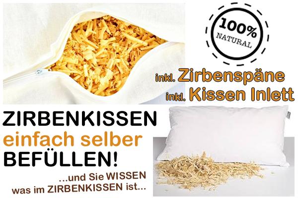 Zirbenkissen selber befüllen mit frischen Zirbenflocken aus Österreich