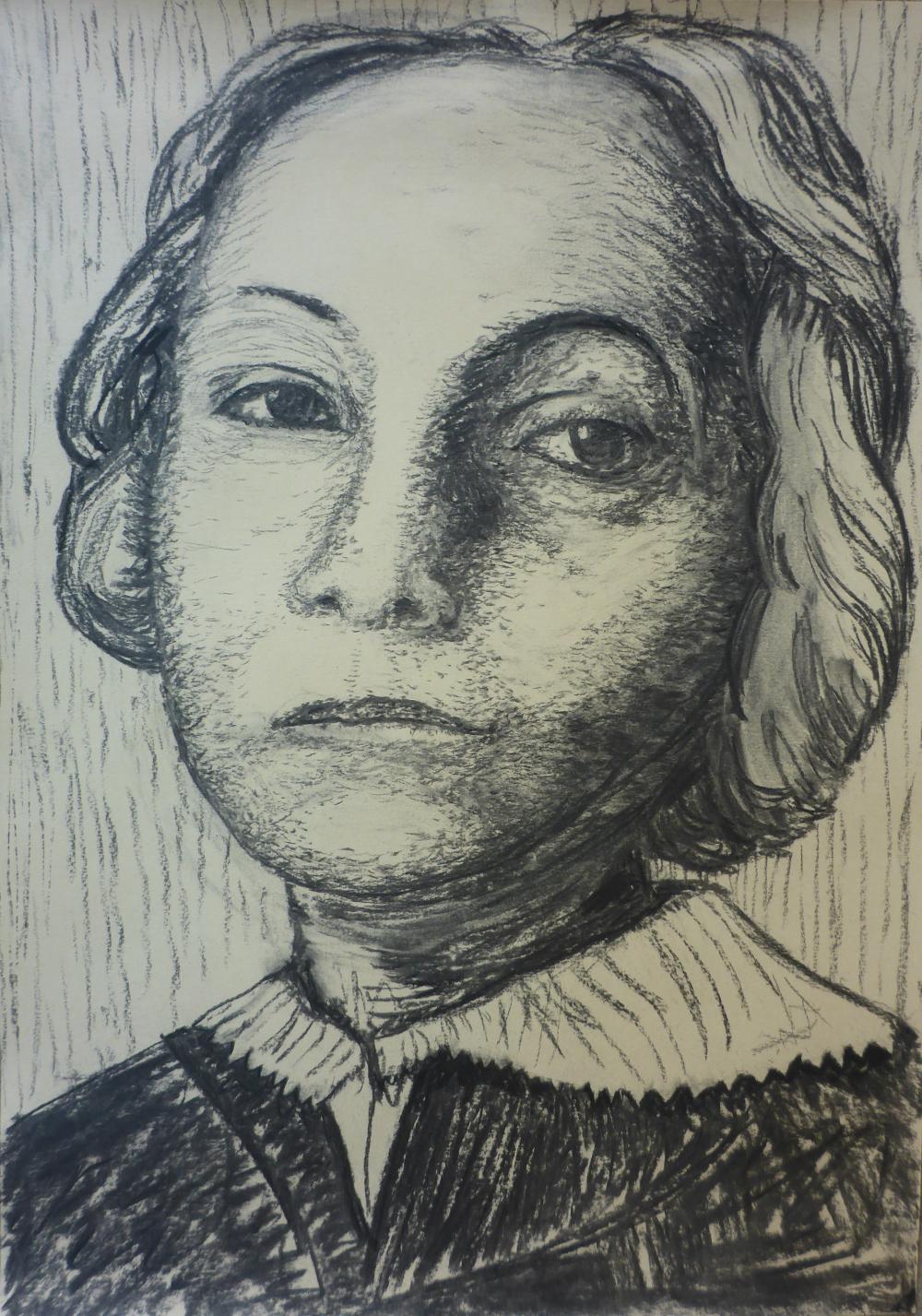 """Käthe"", 2019, charcoal on paper, 42 x 59 cm"