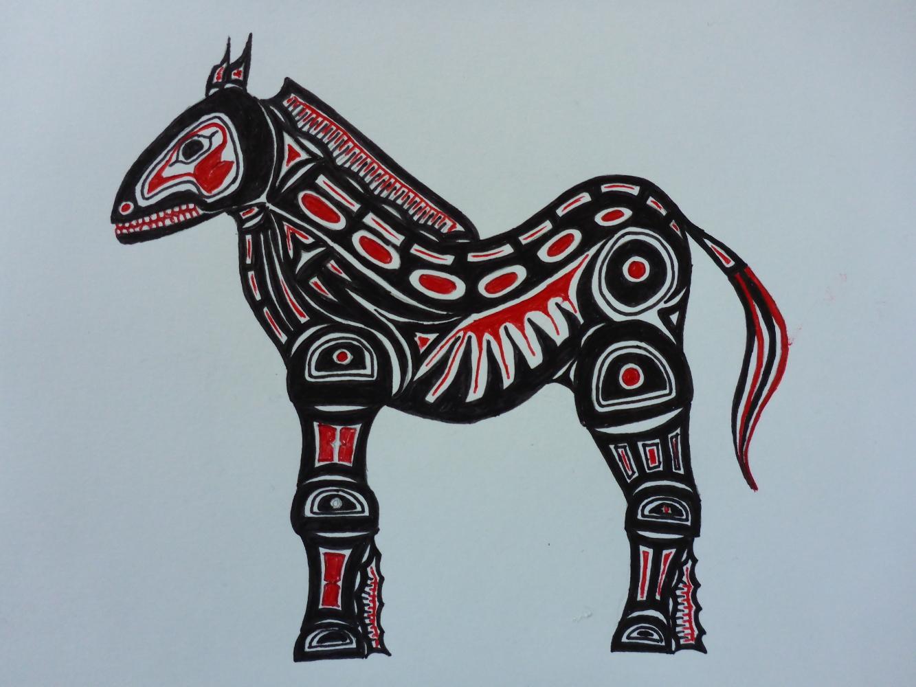 """""""Stallion X"""", 2018, fineliner on paper, 30 x 21 cm"""