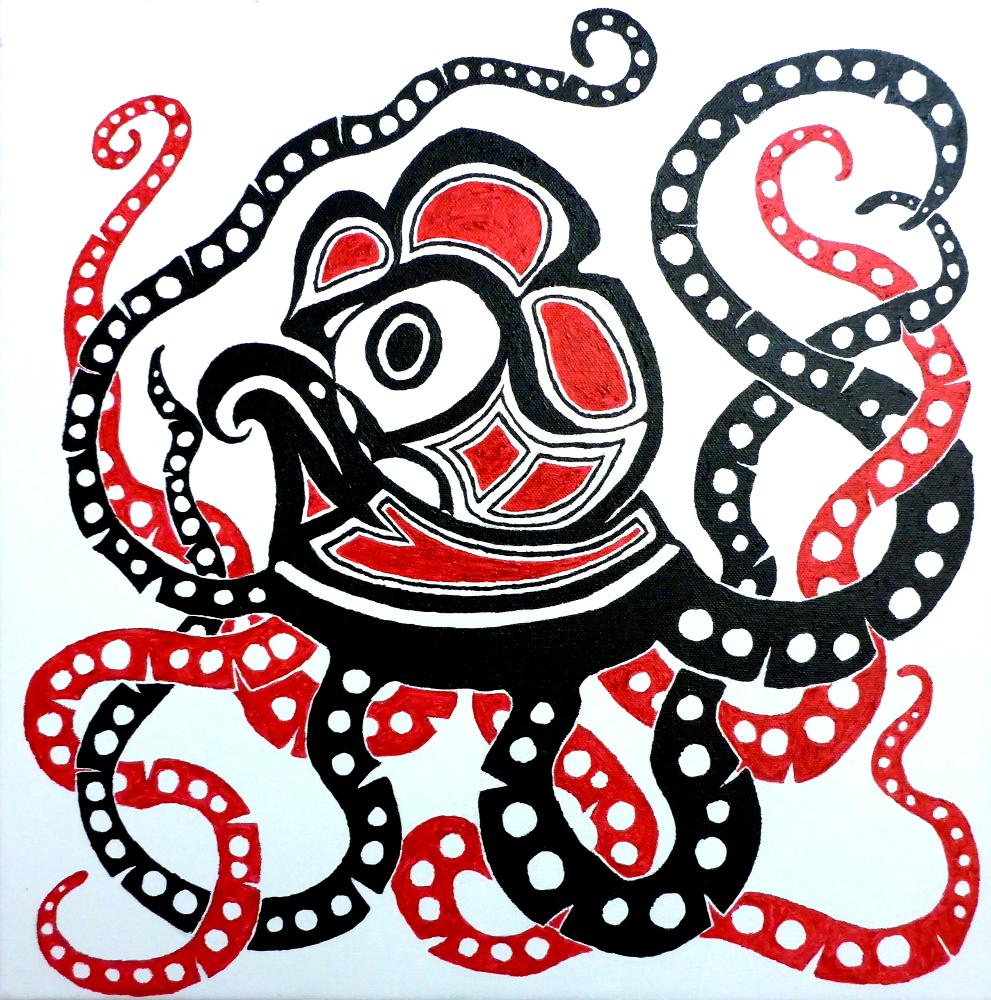"""""""Octopus"""", 2019, Acryl auf Leinwand, 40 x 40 cm"""