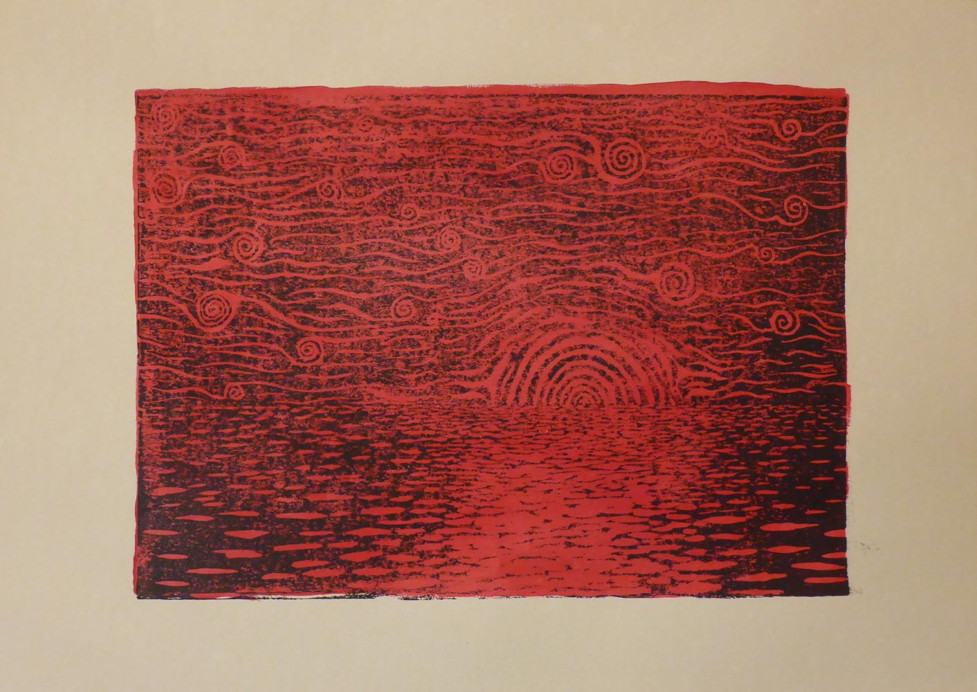 """""""Sternennacht IV"""", 2018, Linolschnitt + Acryl auf Papier, 42 x 30 cm"""