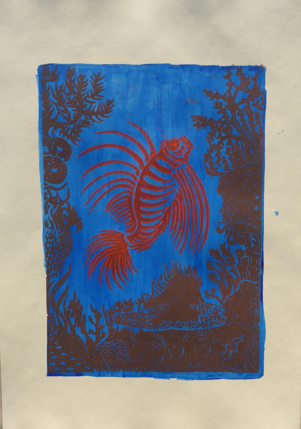 """Das Riff II"", 2019, Linolschnitt + Acryl auf Papier, 30 x 42 cm"