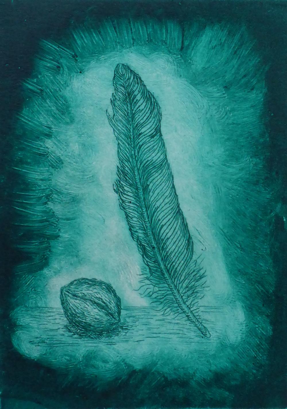 """""""Feder mit Nuss II"""", 2018, Kaltnadelradierung auf Papier, 15 x 21 cm"""