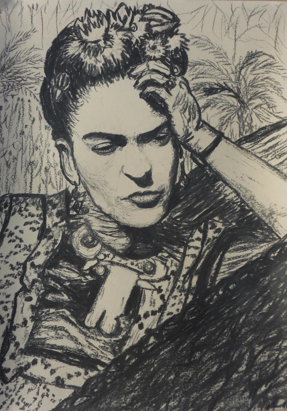 """""""Frida"""", 2018, charcoal on paper, 42 x 59 cm"""