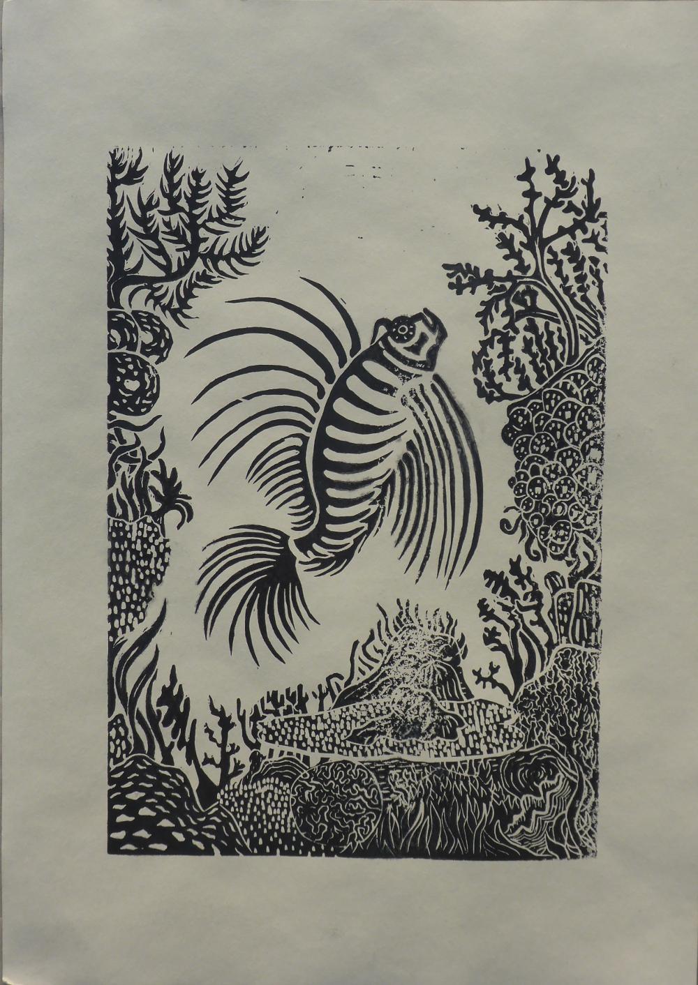 """Das Riff I"", 2019, Linolschnitt auf Papier, 30 x 42 cm"