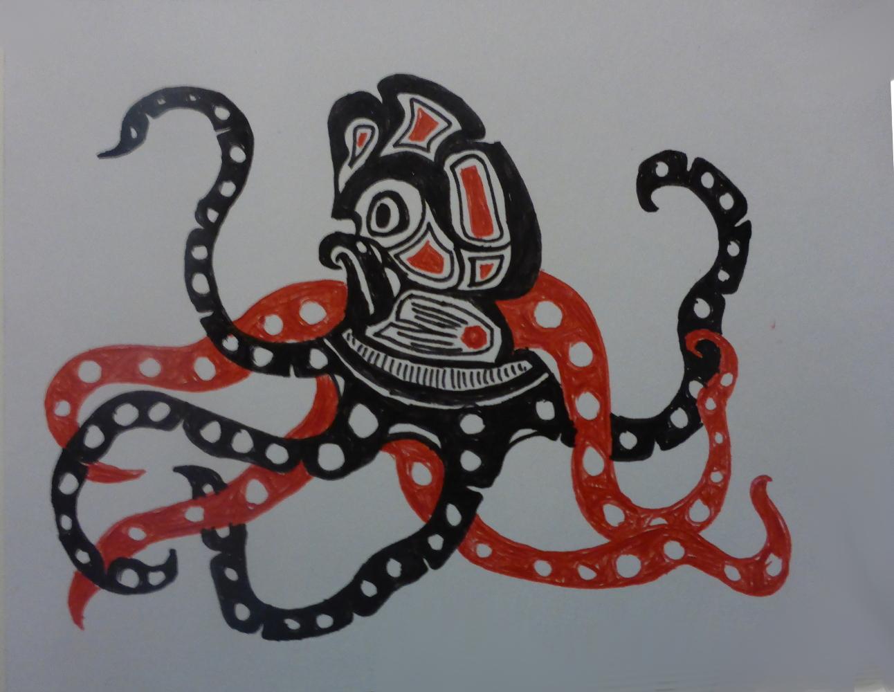 """""""Octopus"""", 2018, biro on cardboard, 15 x 11 cm"""