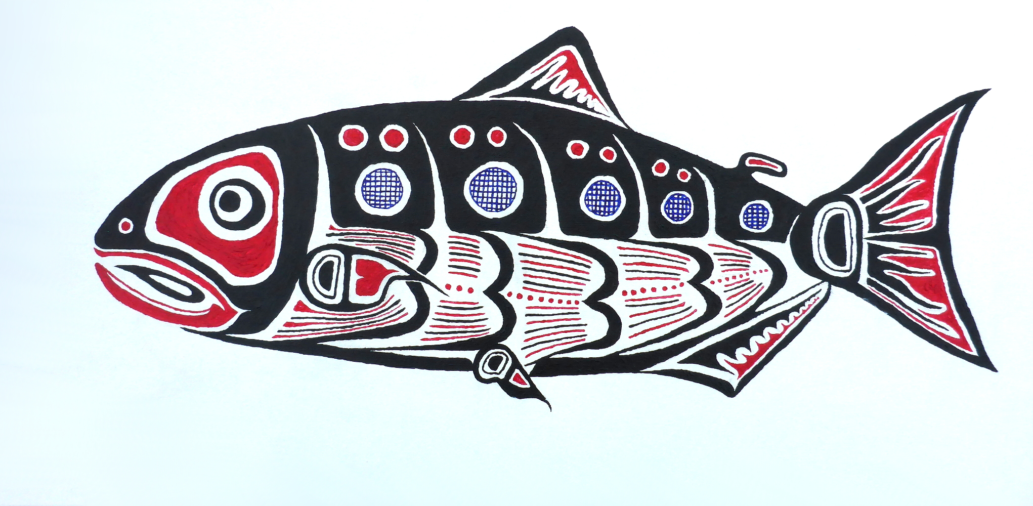 """Lachs"", 2018, Acryl auf Leinwand, 80 x 40 cm"