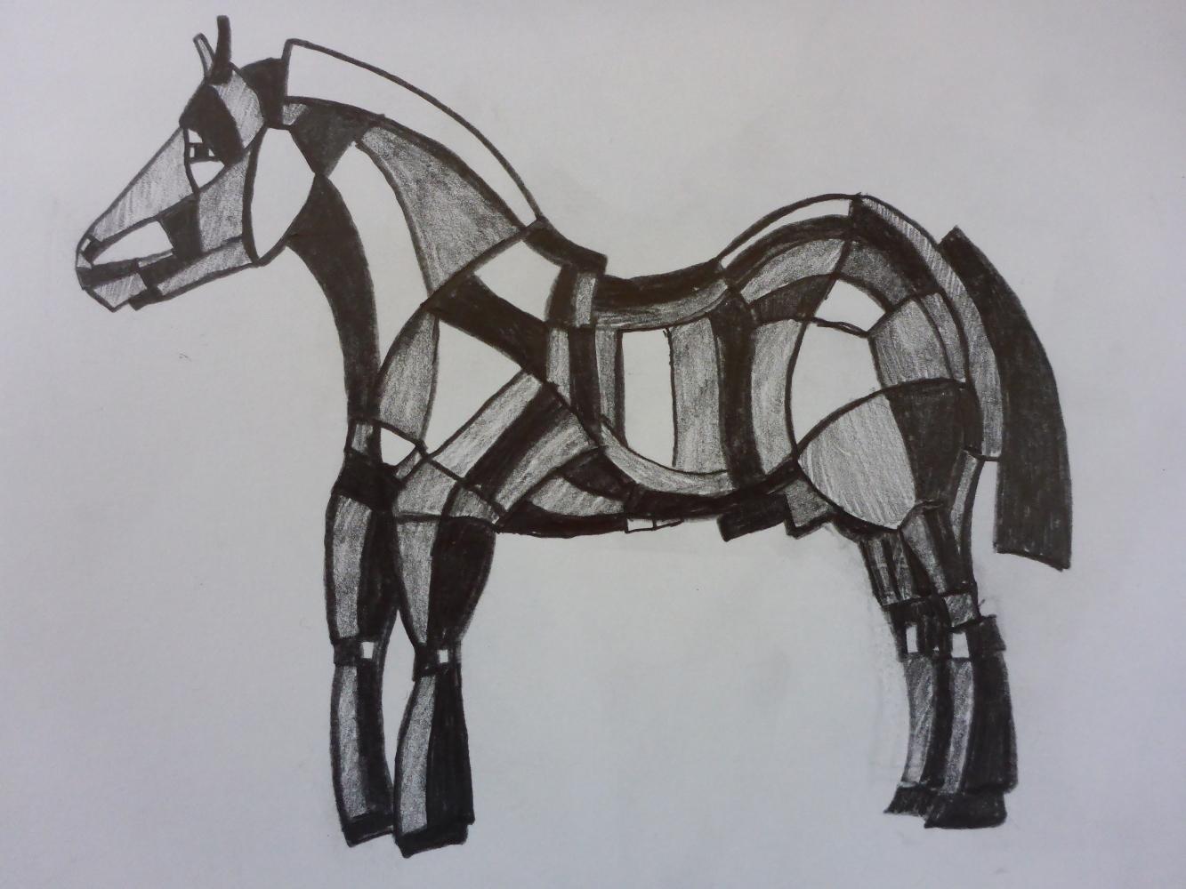"""Stallion V"", 2018, pencil on paper, 30 x 21 cm"