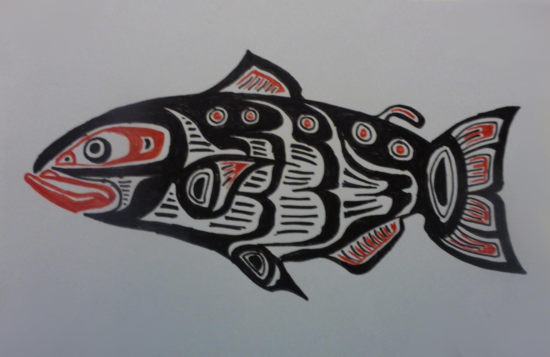 """""""Salmon"""", 2018, biro on cardboard, 15 x 11 cm"""