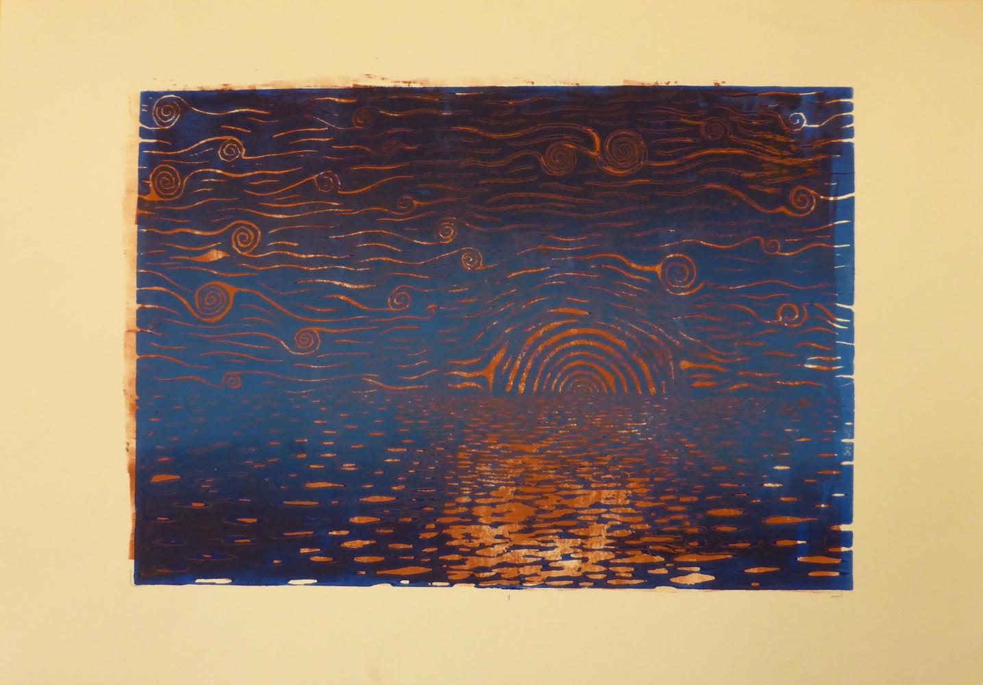 """Starry night II"", 2018, linocut on paper, 42 x 30 cm"