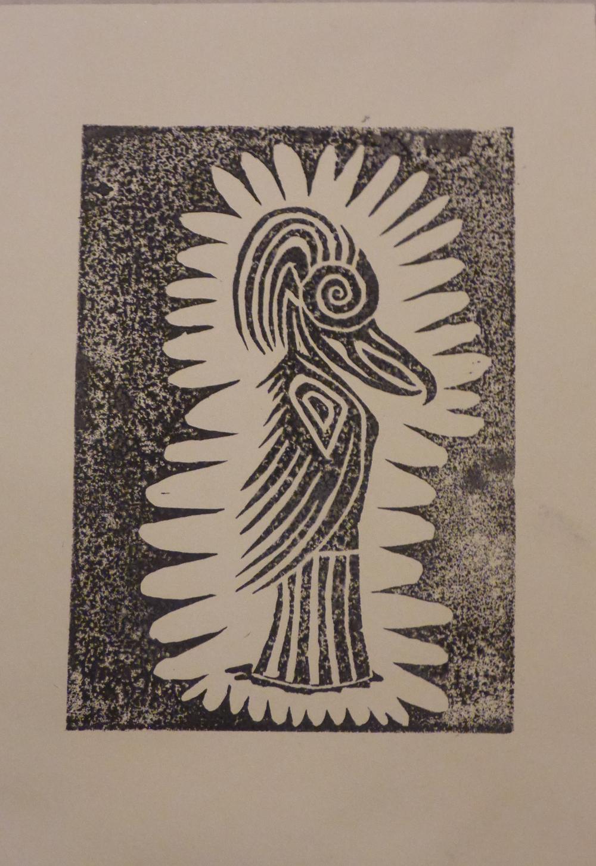 """Eris I"", 2018, linocut on paper, 21 x 30 cm"