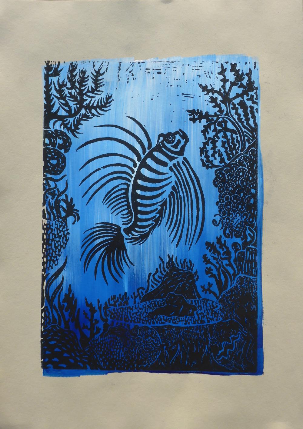 """Das Riff III"", 2019, Linolschnitt + Acryl auf Papier, 30 x 42 cm"