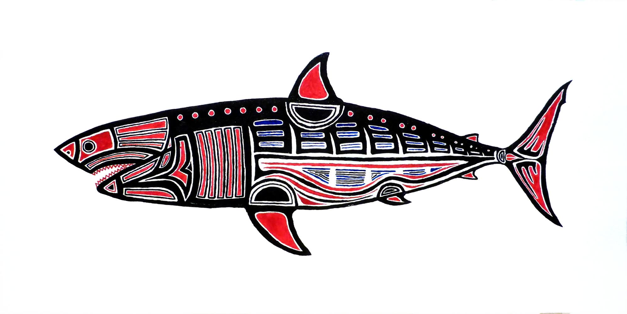 """""""Shark"""", 2019, acrylic on canvas, 80 x 40 cm"""