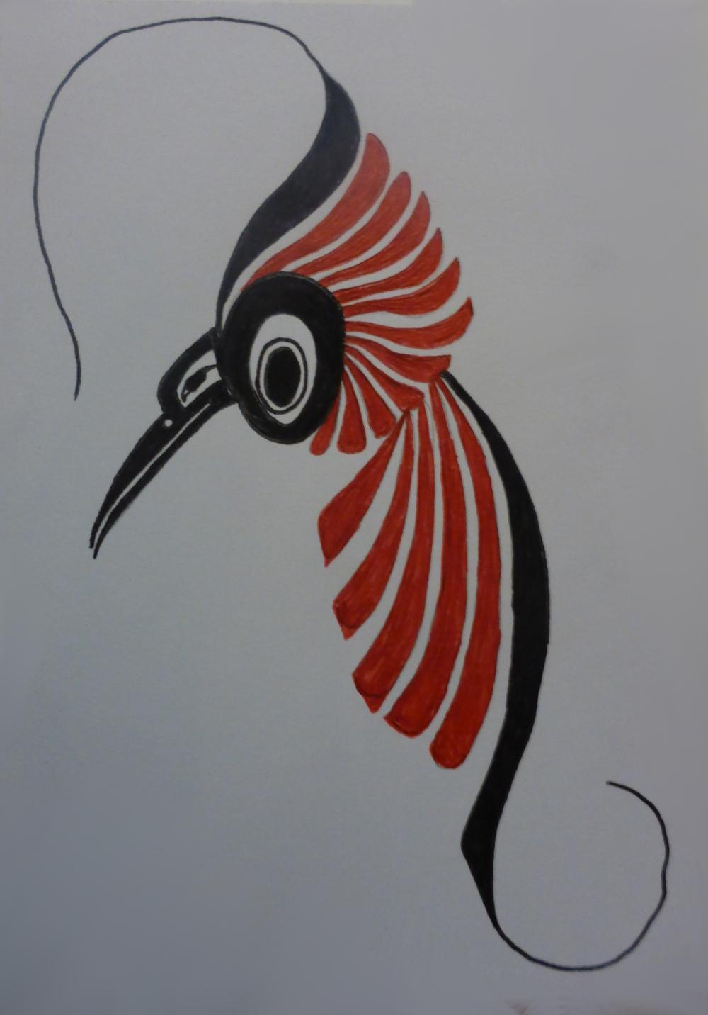 """""""Hummingbird"""", 2018, biro on cardboard, 11 x 15 cm"""