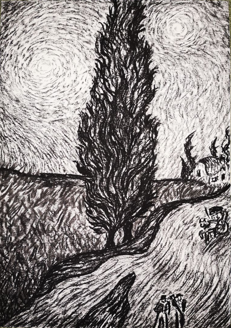 """""""Road with cypress"""" (a. V. v. G.), 2018, charcoal on paper, 42 x 59 cm"""