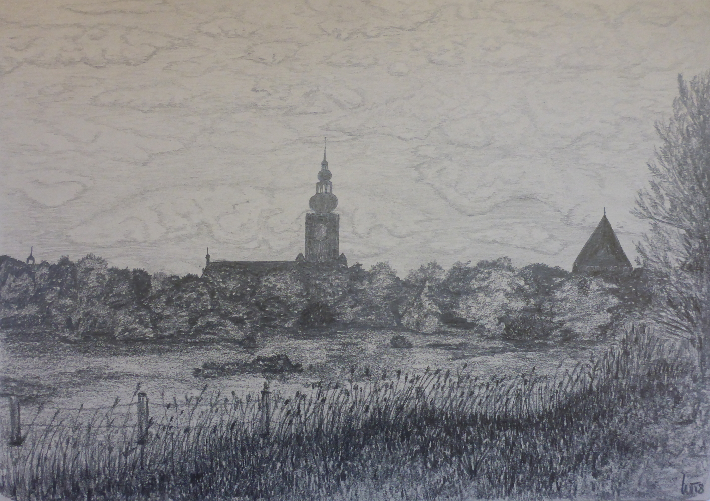 """""""Greifswald"""", 2018, Bleistift auf Papier, 42 x 30 cm"""