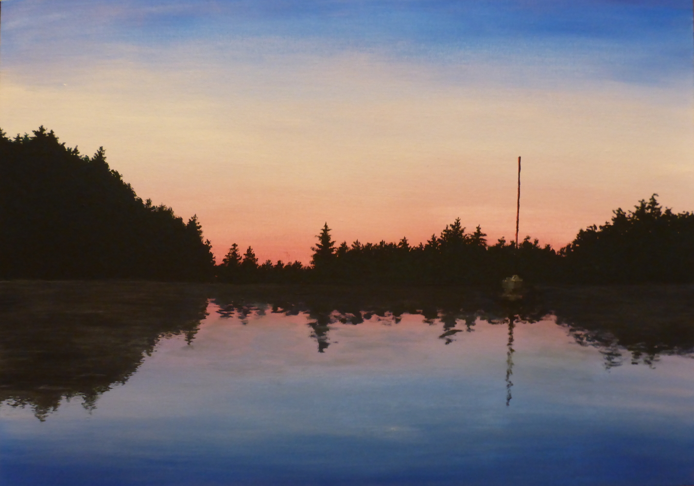 """Silva Bay"", 2019, Acryl auf Pappe, 70 x 50 cm"