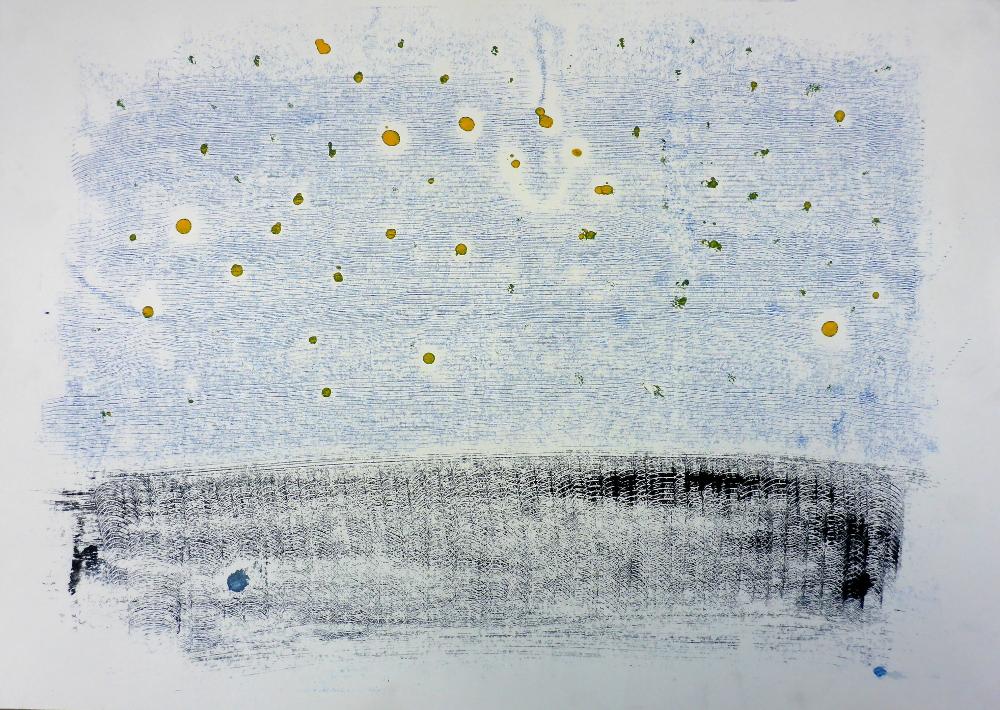 o.T., 2018, Monotypie auf Papier, 60 x 42 cm