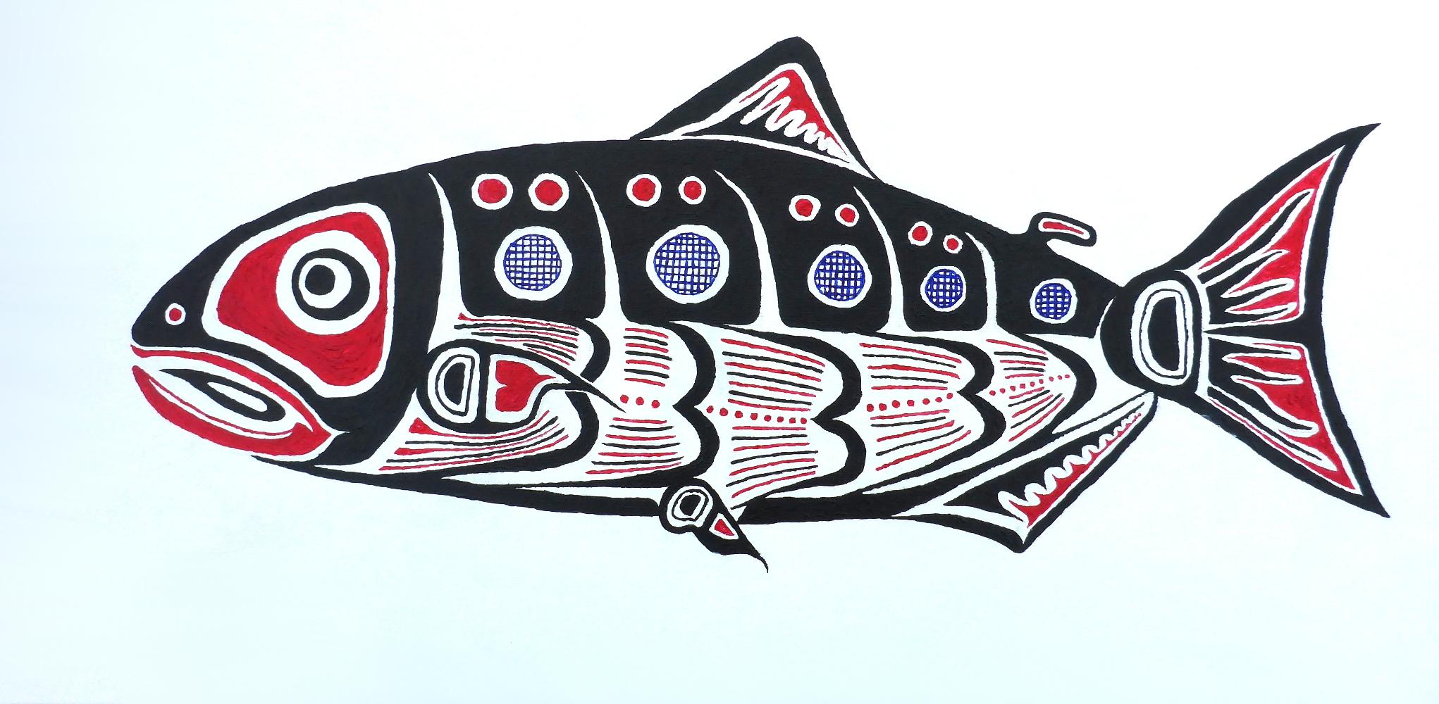 """""""Salmon"""", 2018, acrylic on canvas, 80 x 40 cm"""