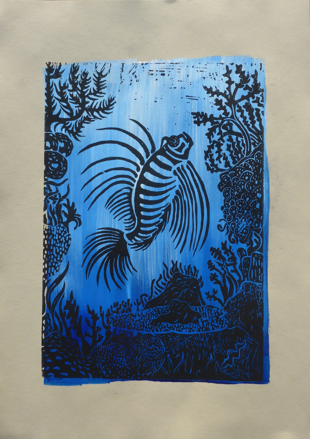 """The reef III"", 2019, linocut and acrylic on paper, 30 x 42 cm"