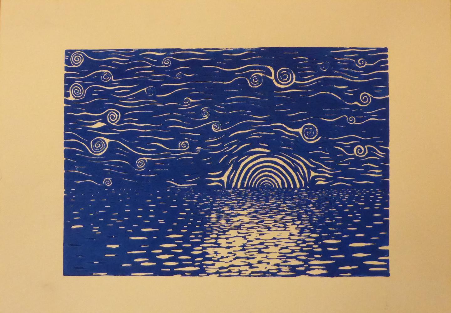 """Starry night I"", 2018, linocut on paper, 42 x 30 cm"