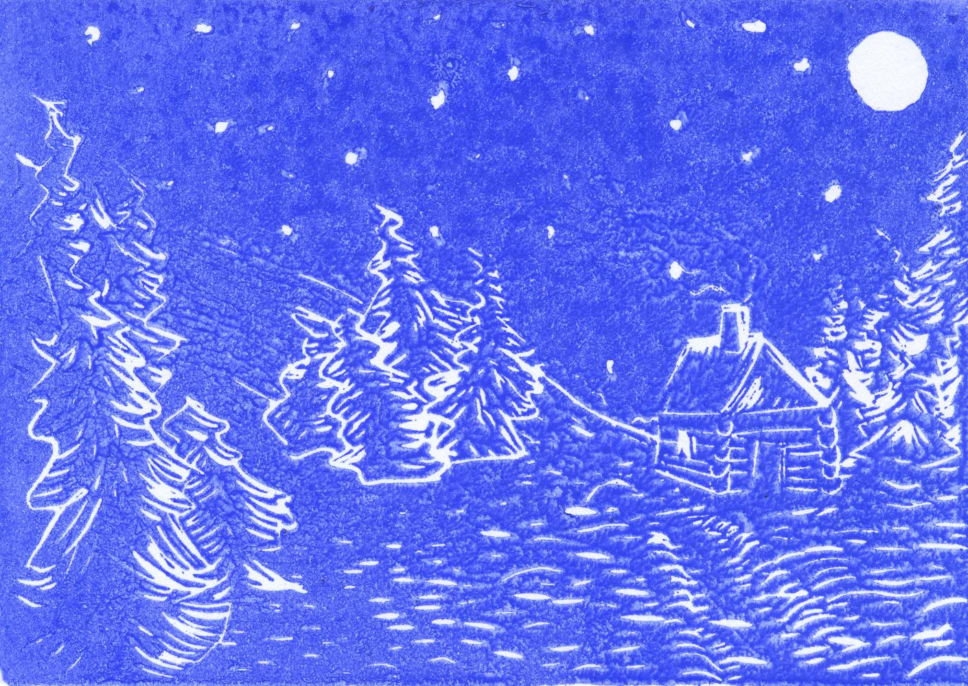 """""""Winter mountains II"""", 2018, linocut on cardboard, 15 x 11 cm"""