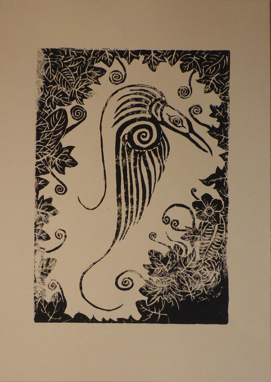 """Rain forest I"", 2018, linocut on paper, 30 x 42 cm"