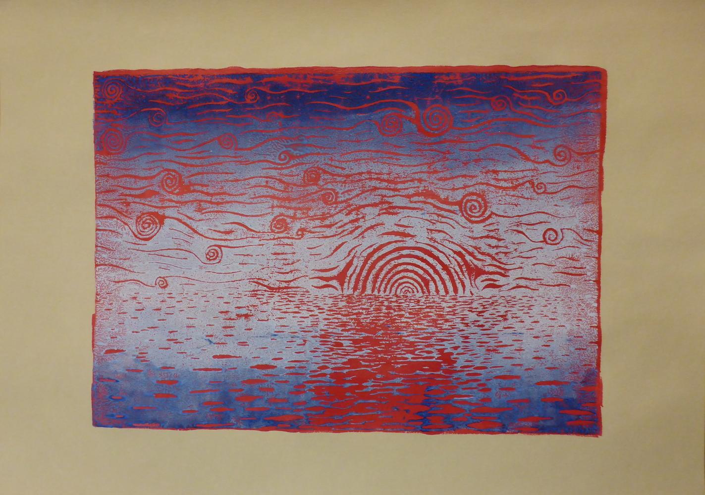 """""""Sternennacht III"""", 2018, Linolschnitt + Acryl auf Papier, 42 x 30 cm"""