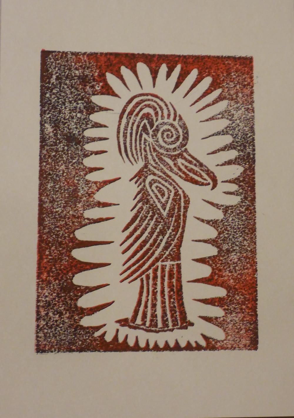 """Eris III"", 2018, Linolschnitt auf Papier, 21 x 30 cm"