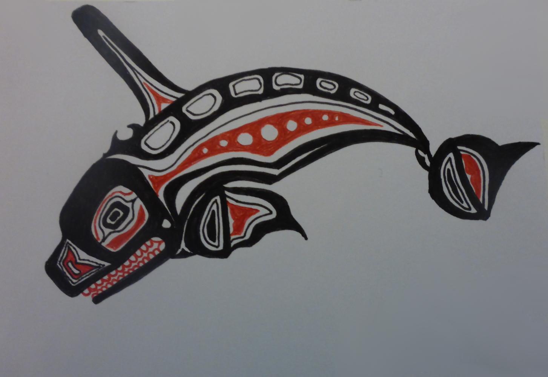 """Orca"", 2018, Kugelschreiber auf Pappe, 15 x 11 cm"