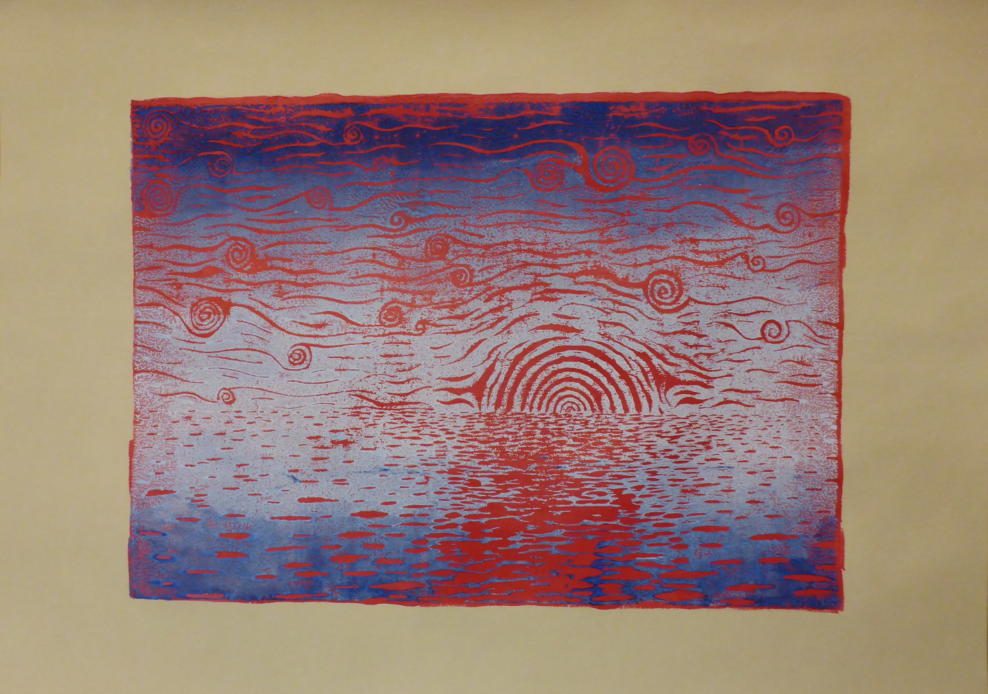 """Starry night III"", 2018, linocut and acrylic on paper, 42 x 30 cm"