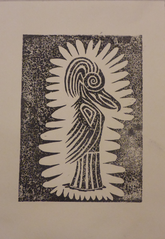 """""""Eris I"""", 2018, Linolschnitt auf Papier, 21 x 30 cm"""