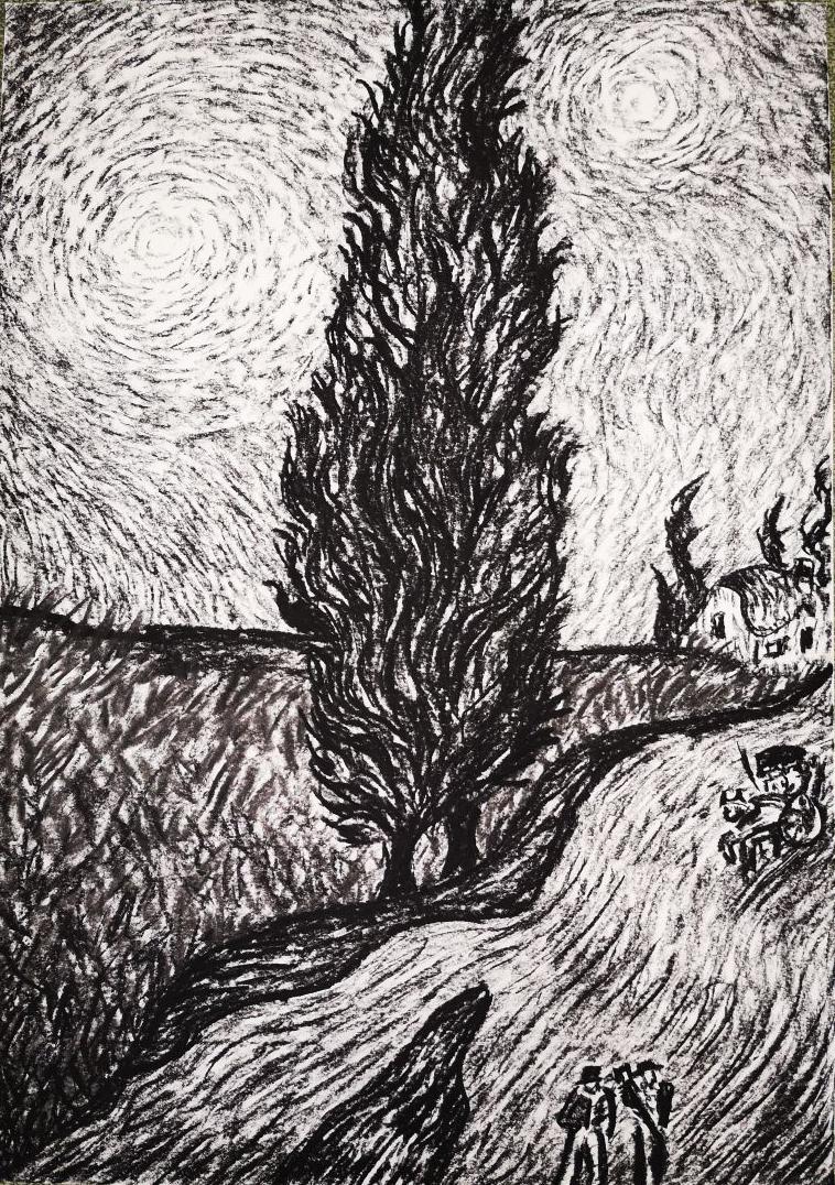 """""""Zypressenweg"""" (n. V. v. G.), 2018, Kohle auf Papier, 42 x 59 cm"""