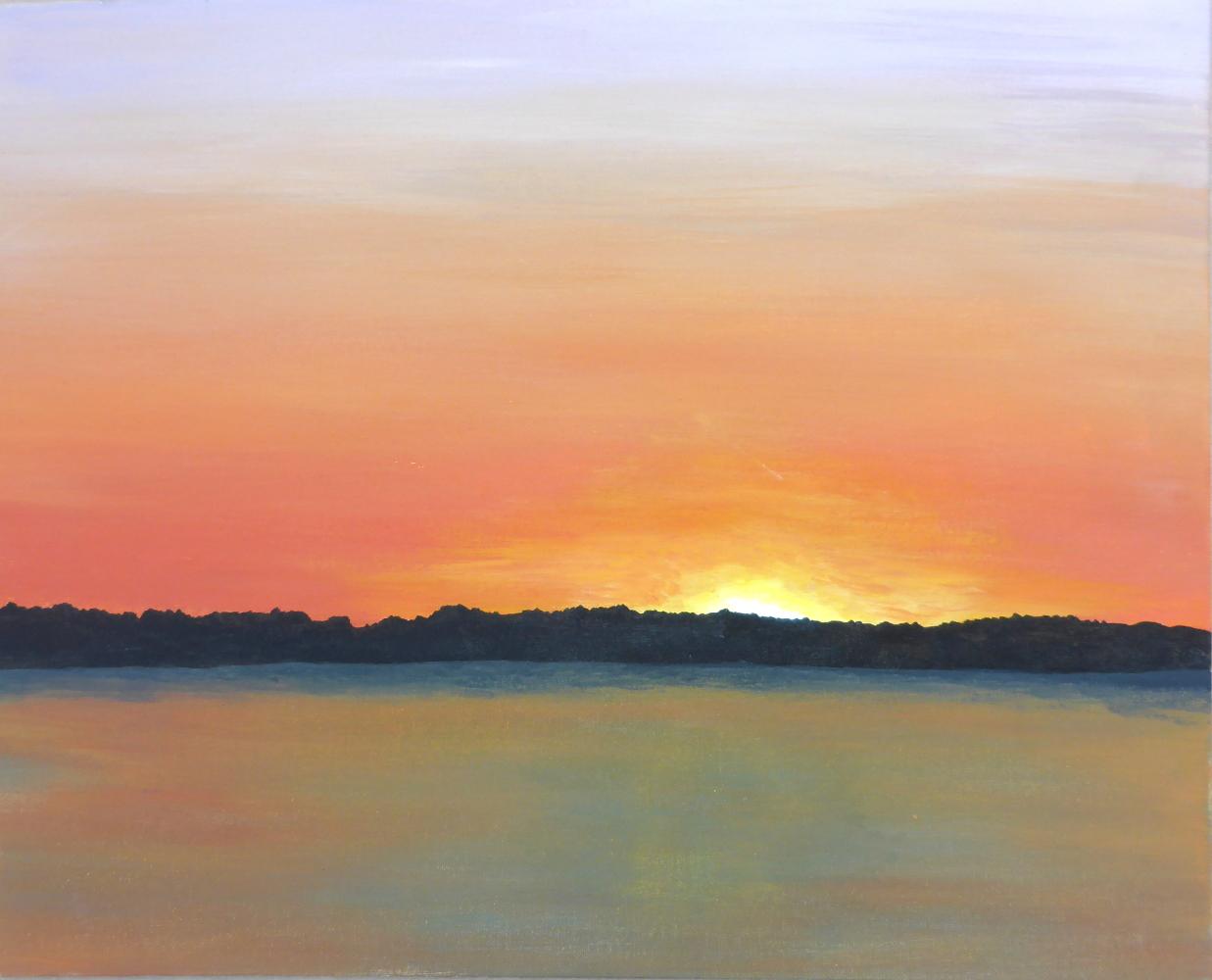"""Sonnenuntergang"", 2018, Acryl auf Pappe, 50 x 40 cm"