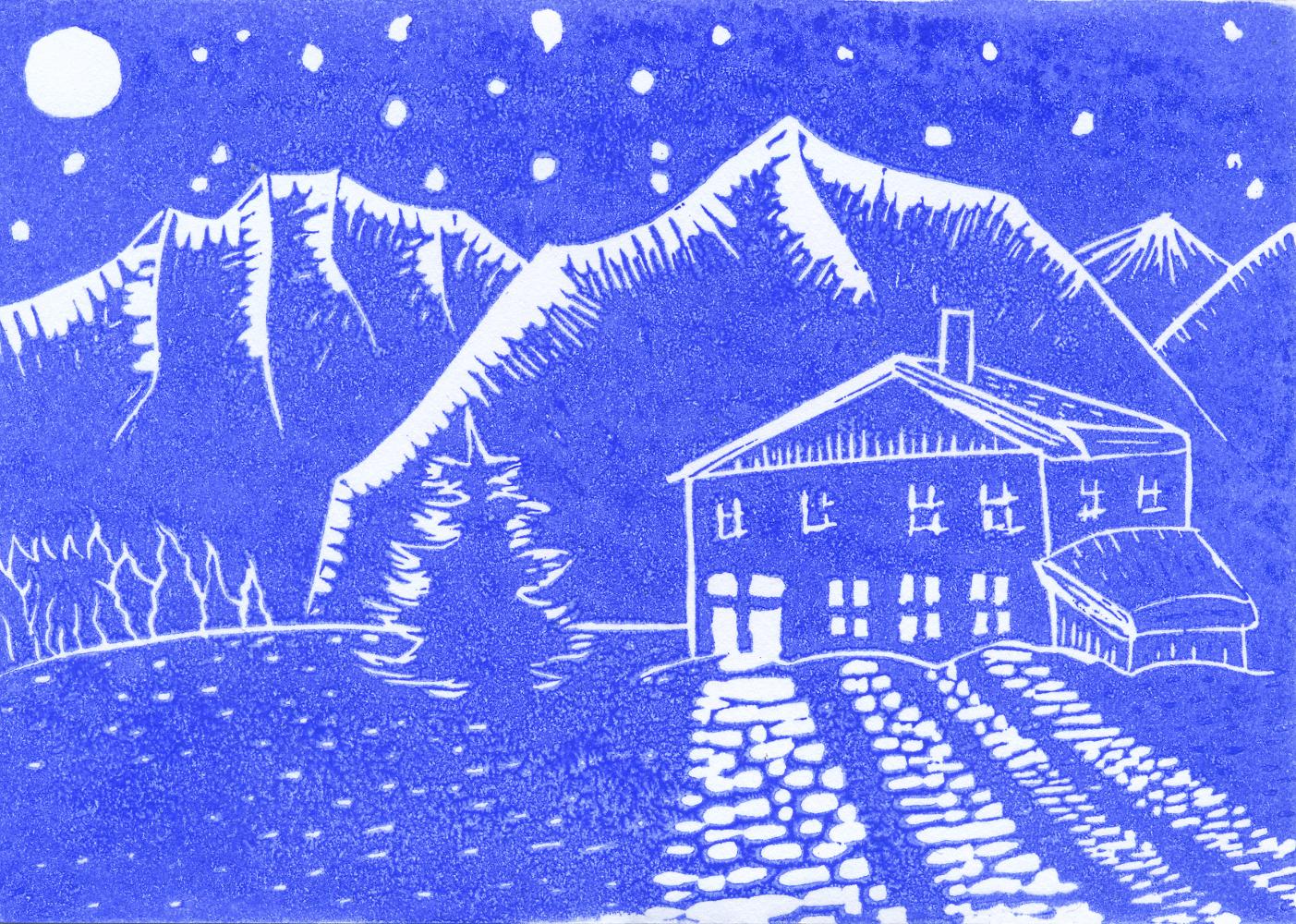 """Winter mountains I"", 2018, linocut on cardboard, 15 x 11 cm"