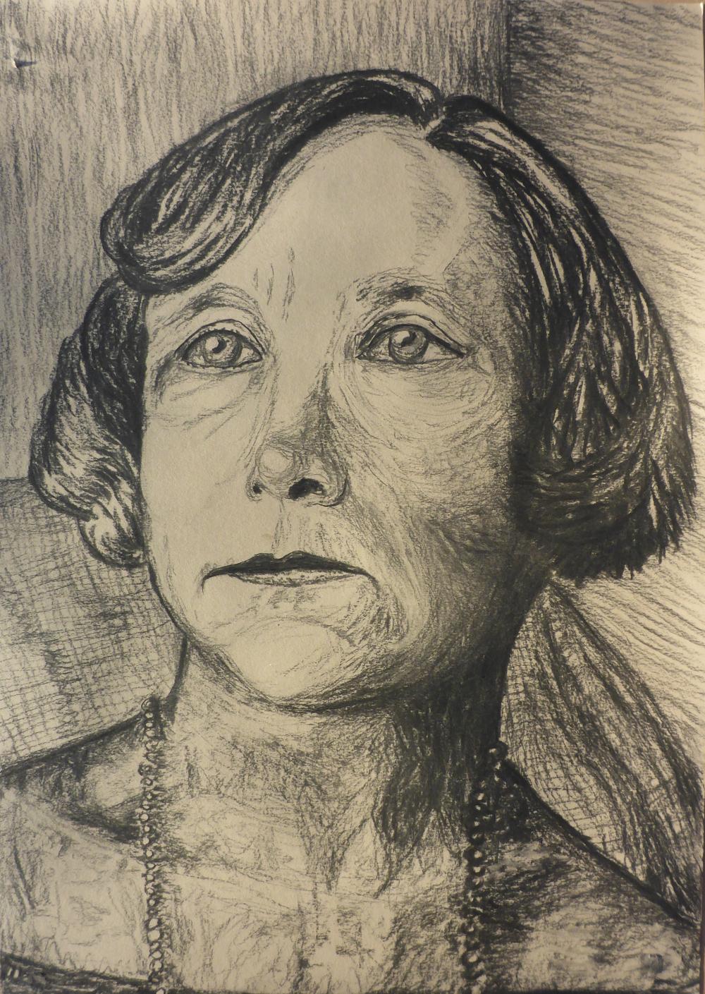 """""""Gabriele"""", 2019, Kohle auf Papier, 42 x 59 cm"""