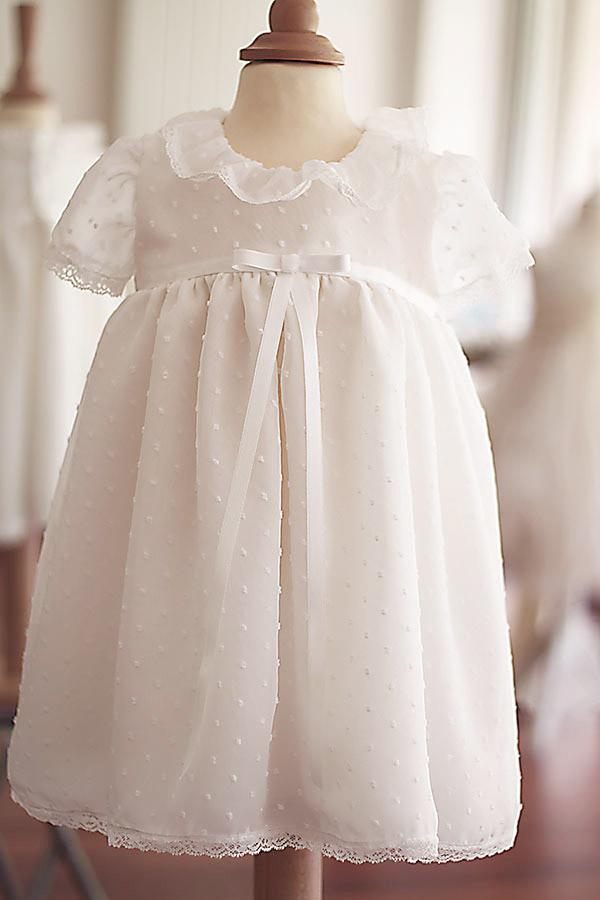 large choix de designs meilleur service mode de premier ordre Robe baptême bébé fille voile plumetis Alicia