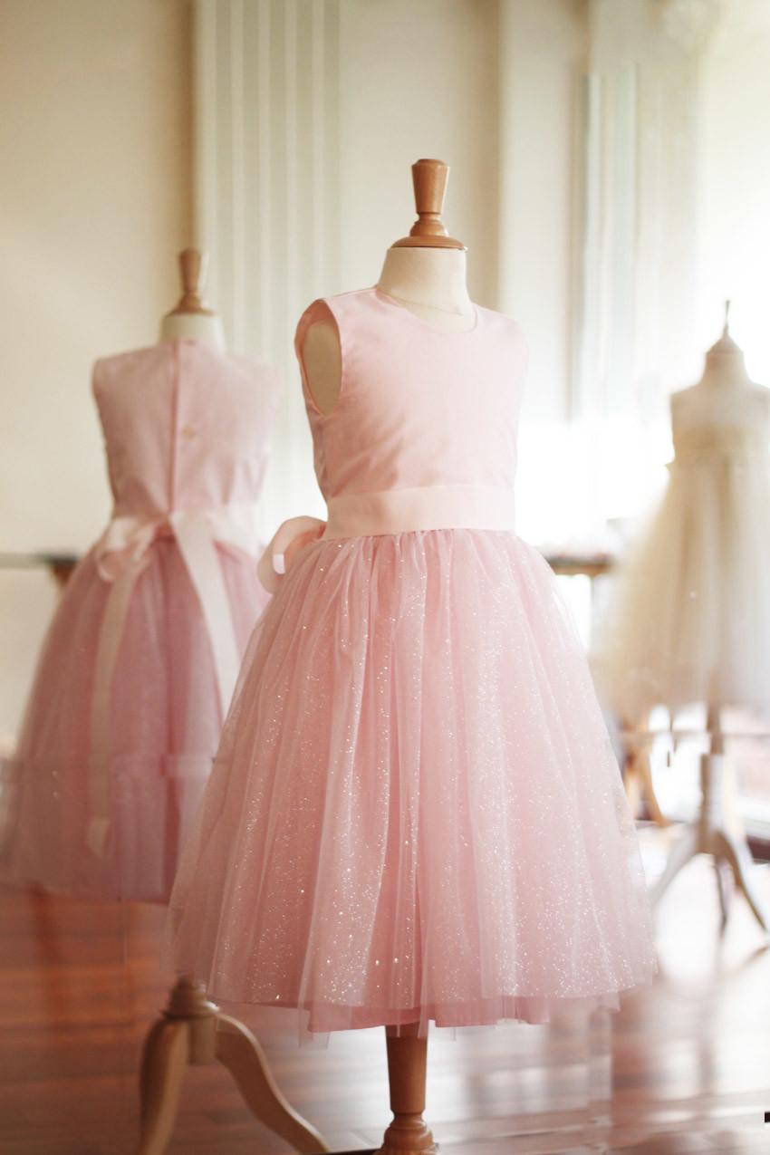 Robe de fête enfants Nora tulle pailleté rose - Fil de Légende
