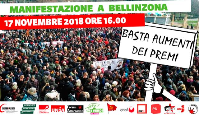 Manifestazioni contro l'aumento dei premi di cassa malati @ Largo Elvezia
