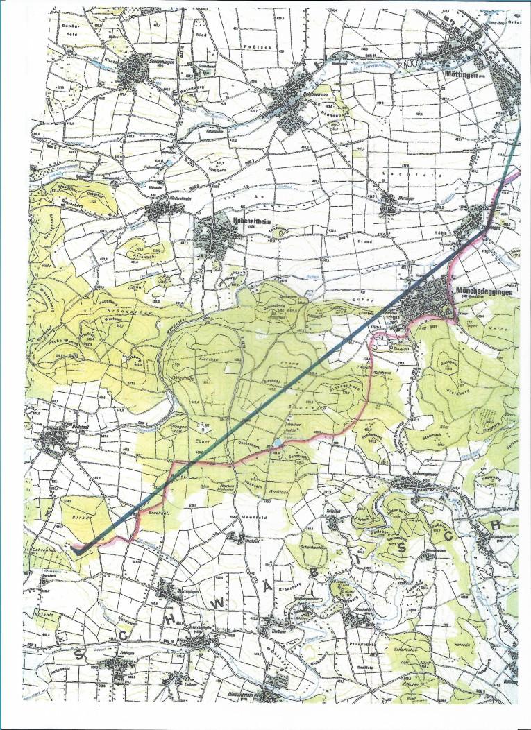 Verlauf der Drahtseilbahn von Amerdingen bis Mönchsdeggingen bis 1931