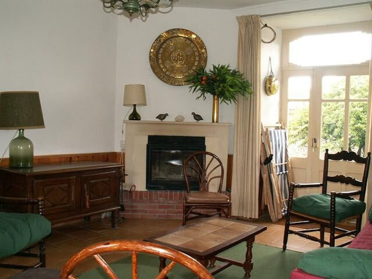 The living room, view of the fireplace