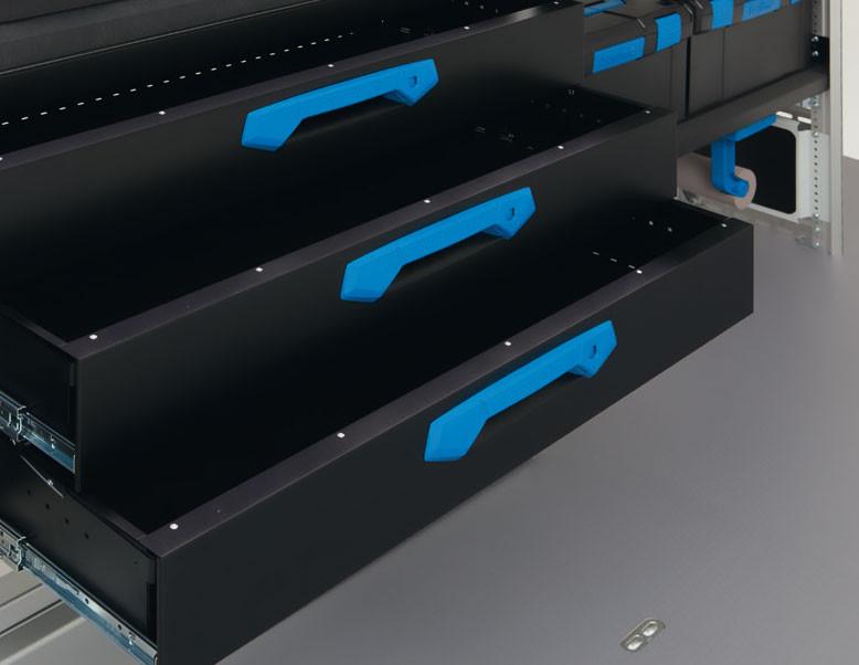 Schublade HD, belastbar bis zu 90 kg, Schublade aus hochfestem Metall mit der bewährten Fangbolzenverriegelung, extrem robuste Griffmulde,leichte Entriegelung auch mit Arbeitshandschuhen Schubladeneinteilungen durch Insetboxen und Trennblechsätzen möglich