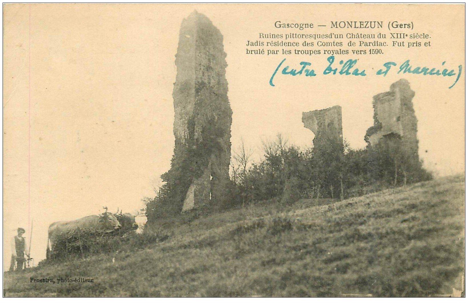 Carte postale des ruines du château