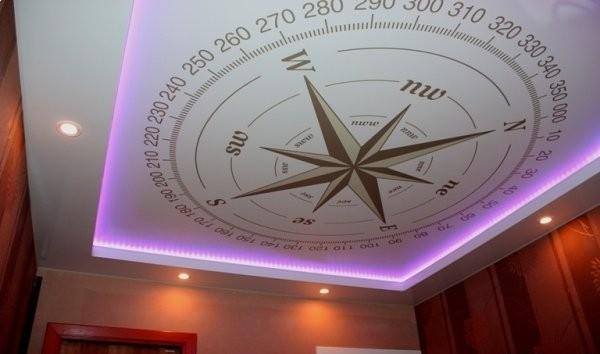 Spanndecke Kompass bedruckt