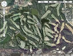 森をえぐったようなゴルフ場